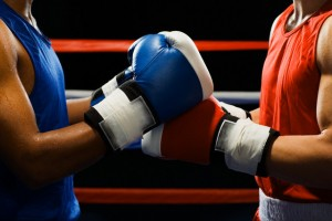 Boxers Touching Gloves Before Fight